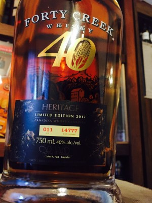 Forty Creek Heritage 40% abv Bottle # 14777